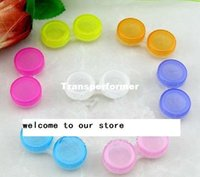 Wholesale 500pcs HOT SALE color contact lens cases eye contact Box for Freshlook lens brand new mixed colors