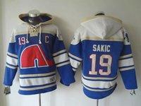 al por mayor quebec nordiques-# 19 SAKIC Jersey Nordiques Chaquetas Jersey Hoodies Hockey Jersey Sport Jerseys Bordados Logos Azul Envío Gratis De primera calidad