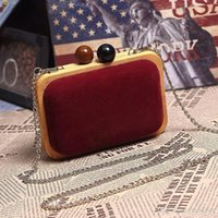 Wholesale 2015 vintage chain bag evening bag day clutch fashion hard shell bag small wool box bag