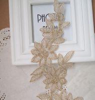 Wholesale Appliques Gold Flower Shape Venise Lace Applique Trims Embroidery Craft