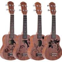 Wholesale 21 quot Mini Exquisite Sapele Ukulele Ukelele High Quality Rosewood Fingerboard Mahogany Neck Nylon String Matte Kids Gift