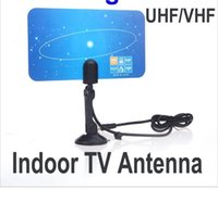 Wholesale 2015 New Digital Indoor TV Antenna HDTV DTV HD VHF UHF Flat Design High Gain US EU Plug New Arrival TV Antenna Receiver