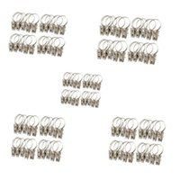 Wholesale F15044 Silver Classic Metal Curtain Rod Clips Window Shower Curtain Rings Clamps Drapery Small Clips Hooks