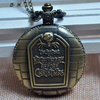 Wholesale Bronze Engraved Tim Burton s Nightmare Before Christmas Quartz Pocket Watch Analog Pendant Necklace Mens Womens Gifts
