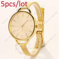 Wholesale 5pcs Fashion Luxury Gold Silver Quartz Lady Wristwatches Women Wrist Watch SV004346