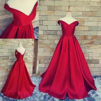 Revisiones Alfombra roja del hombro fuera-Real Image simple alfombra roja vestidos de baile de hombro acanalada por encargo de espalda corsé vendimia vestidos de noche 2016 formal de vestidos de ocasión
