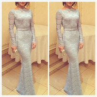 Cheap 2015 Elegant Silver Lace Formal Dresses Evening Arabic Long Sleeves Mermaid Prom Party Gowns Custom Special Occasion Celebrity Dresses