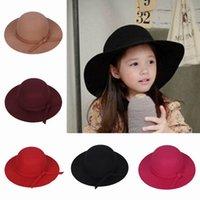 wide brim hats - Cute Children Girl Faux Wool Felt Hats Vintage Soft Wide Brim Caps Outdoor Casual Travel Hats Colros Choose EKO