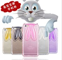 For Samsung TPU Pink 2015 3D Cartoon Clear TPU Rabbit Stand Ear Transparent Cute For Iphone 4 5 5S 6 6 plus S6 Cell Phone Cases Mobile Phone Cover Lanyard Cheap