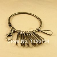 Cheap Wholesale Alloy key ring 1 big ring + 1 Lobster Clasp + 10 hang clasp ket chain