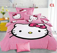 Wholesale All out for Cartoon hello kitty Bedding Hot New cotton Children Bed Sheets Twin Single Double colors Dropship Gorgeous Bedding