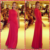 beautiful evening dresses online - One Shoulder Long Sleeve Sheath Prom Dresses Red Sweep Formal Special Occasion Party Evening Gowns Beautiful Cheap Online Pleated