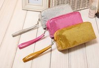 cosmetic glitter - glitter wristlets candy color waterproof nylon cosmetic bag small makeup bag handbag PVC Cosmetic Bags makeup bag cosmetic bags cases