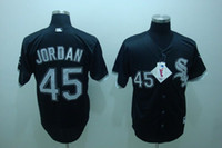 throwback jerseys - 2016 New Cheap MLB Chicago White Sox Michael Jordan Birmingham Barons Button Down Black Throwback Baseball Jersey Embroidery Logos