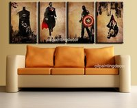 pictures - Comic Book Hero Batman Superman Captain America Spider Man Handmade Modern Abstract Oil Painting pc Canvas Art Wall Picture Set