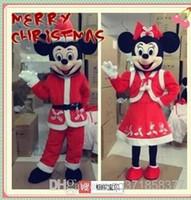 Mickey Navidad y Minnie Mouse personaje de dibujos animados de la mascota de la escuela mascota animales traje trajes vestido de lujo