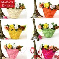 Wholesale Mara s dream Women Messenger Bags Small cute mini flowers woven straw bag floral open barrel shaped single Messenger bag purse