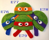 baby hat earflaps - 10pcs Hot Sale Ninja Turtles Hat Baby Boys Animal Beanies Earflaps Winter Kids Cotton Hat