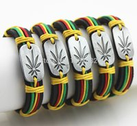 Wholesale Jewelry Fashion Hemp Hand Woven Alloy Design Weed Cannabis Leaf Surfing Leather Bracelets Gift MB102