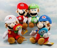 mario plush - 4pcs Colors CM Super Mario Bros Plush Holding Mushroom Flower Louis Marie Plush Toys Soft Stuffed Dolls Children Gifts