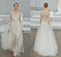 brides made - 2015 Spring Wedding Dress Collection Monique Lhuillier A Line Jewel Natural Waist Long Sleeve Sheer Back Sweep Train Bride Gowns SH1031010