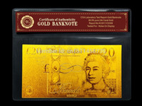 Wholesale 20 Pounds K Gold Foil Banknote with COA certificate Accept Mixed