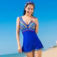 Cheap Fashion Brand National Wind Printing 2015 Retro Swimsuit Women Swimsuit Skirt One Piece Swimwear Plus Size 5XL Beach Wear Dress Bathing Suit