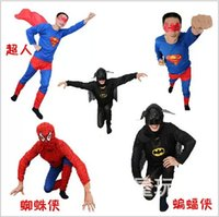 adult batman suit - 2015 adults KIDS color Spiderman Superman Batman Halloween Costume Suits eye mask long sleeve superhero costume cosplay set TOPB3819