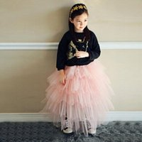 Cheap New Style spring new girls Skirts korean sweet style multilayer tulle princess Ball Gown kids Skirts pure color children long skirt 3-7age