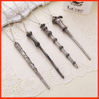 Wholesale Harry Potter wand necklace keychain Hermione Dumbledore Voldemort Magic Wand sticks necklace key chains statement jewelry