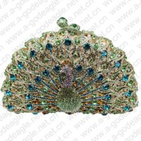 ab party bags - green HK AB cheap crystal animal peacock handmade bag for elegant ladies on wedding parties