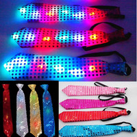 Wholesale Sequins LED Necktie Light Up Neck Tie Flashing Blinking Sparkling Party Favors