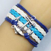antique nautical compass - Designs Leather Bracelet Antique fashion charm hot wax handmade braided bracelet jewelry retro anchor nautical compass