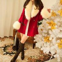 Cheap 2014 Winter Women Warm Wool Coats Slim Long Overcoats Lady Fur Collar Sloaks Christmas Red Green Beige Casual WoolCoats C58A5S