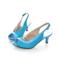 Wholesale Sexy Kitten Heel Sandals - Hot Sale Summer New Style Sexy Medium Stiletto Heels Peep Toe Slingback Sandals Metallic Leather Buckle Shoes Euro Size 34-43 gold silver