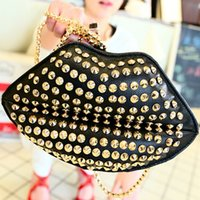 Wholesale Free ship New handbag retro rivet lip bag chain shoulder bags Messenger packet order lt no tracking