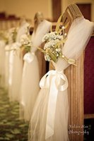 church chairs - 2015 Wedding Chair Covers Tulle Bow Church Romantic Party Sash Decorations