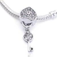beaded key chains - 2015 New Fashion Sterling Silver Love heart Lock Gold Key European Beads Charm Hot Jewelry For Pandora Bracelets Snake Chain who