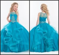 aqua marine stones - 2016 Aqua Marine Beaded Ball Gown Flower Girls Dresses For Weddings Party Gowns Ruffled Tulle Matte Stone Beading Communion Dress