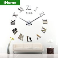 acrylic wall decor - Living Room DIY large quartz Acrylic mirror wall clock D Roman numerals design Fashion Art Home Decor stickers wall Watch