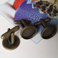 Wholesale 20pcs mm Brass Antique Bronze French Cufflinks Blanks Cufflinks backs Cameo Cabochons settings Finding