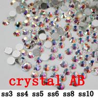 Wholesale crystal AB ss3 ss10 mm crystal glass Rhinestone flatback rhinestones silver foiled
