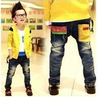 al por mayor los pantalones vaqueros de color amarillo para los niños-Al por mayor-venta al por mayor (5pcs / lot) muchachos niño bolsillos de cremallera pantalones vaqueros de color amarillo