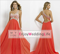 Wholesale 2015 New Sexy One Shoulder Coral Chiffon Floor Length Prom Dresses Sheer Beaded Rhinestones Backless Evening Gowns