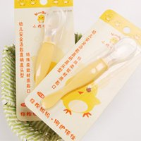 Wholesale Baby baby chick Cady silicone tableware spoon tablespoon soft head security KD3035