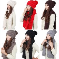 Wholesale 2016 Ladies Women Knitted Scarf And Hat Set Winter Girl Knitting Scraves Cap Excluding Gloves