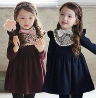 children fashion garment - New Fashion Long Sleeve Bowtie Lace Cotton Girl Dress Children Princess Dress Kids Dresses Garment Navy Wine