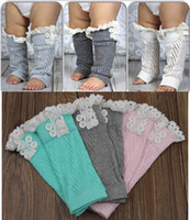 Wholesale 7Colors Baby Crochet Leg Warmers Baby Christmas Lace Leg Protector Baby Spring Autumn Boots Cuffs Leg Warmers