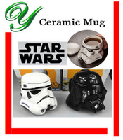 white ceramic mug - star wars Ceramic Mug Darth Vader Storm Trooper Custom Sculpted coffee cup with lid handle black white creative drinking beer mugs gift box