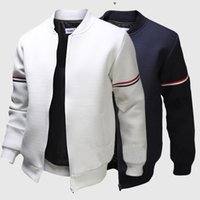 Cheap Mens Jacket Fashion Baseball Collar Outdoor Sport Menswear Striped Ribbon Unique Design Men Jacket Coat Free Shipping 2 Colors